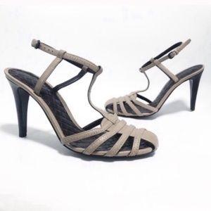 Bottega Veneta. Taupe beige quilted strappy heel.